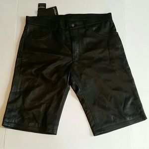 Ambition New York men's genuine leather shorts